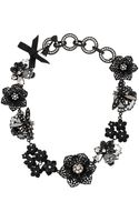 Betsey Johnson Blackout Flower Necklace - Lyst