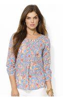 Lauren by Ralph Lauren Petite Paisley Cotton Pintucked Shirt - Lyst