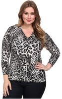 MICHAEL Michael Kors Plus Size Freemont Print V-neck Sweater - Lyst