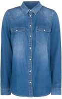 Mango Dark Wash Denim Shirt - Lyst