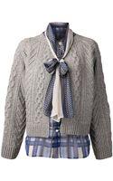 Sacai Knit Cardigan - Lyst