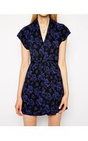 French Connection Tie Waist Dress with Cap Sleeves - Lyst