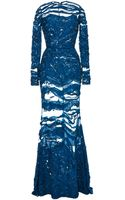Elie Saab Embroidered Blue Double Silk Georgette Gown - Lyst