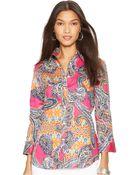 Lauren by Ralph Lauren Petite Three-Quarter-Sleeve Paisley-Print Shirt - Lyst