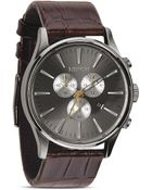 Nixon The Sentry Chrono Alligator-Embossed Leather Strap Watch, 42Mm - Lyst