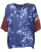 Raquel Allegra Blue & Wine Floral Oversized Silk Tee - Lyst