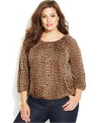 Michael Kors Michael Plus Size Animal-Print Blouson Top - Lyst