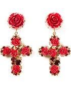 Dolce & Gabbana Rose Crucifix Clip-on Earrings - Lyst