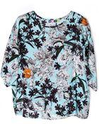 MSGM Silk Floral Boxy Tee - Lyst