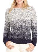 Ralph Lauren Lauren Plus Ombré Cable Knit Sweater - Lyst