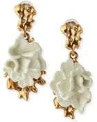 Oscar de la Renta Ivory Coral Clip-On Earrings - Lyst