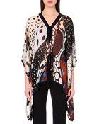 Roberto Cavalli Printed Silk-Chiffon Kaftan Top - Lyst