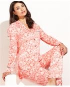 Ellen Tracy Holiday Fleece Notch Collar Top And Pajama Pants Set - Lyst