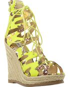 Steve Madden Ghille Lace-Up Wedge Sandals - Lyst