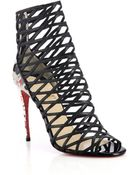 Christian Louboutin Mille Cinque Leather & Python Caged Sandals - Lyst