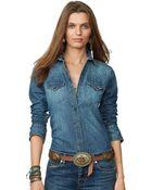Denim & Supply Ralph Lauren Slimfit Chambray Western Shirt - Lyst