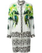 Roberto Cavalli Tropical And Snakeskin Print Shirt Dress - Lyst