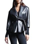 Donna Karan New York Belted Shawl-Collar Leather Jacket - Lyst