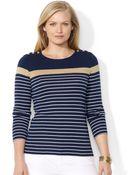 Lauren by Ralph Lauren Plus Size Striped Buttonshoulder Top - Lyst