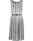 Oscar de la Renta Belted Silk Dress - Lyst