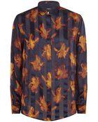 Paul Smith Black Label Iris Print Silk Shirt - Lyst