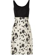 Oscar de la Renta Embellished Silktwill and Silkgauze Dress - Lyst