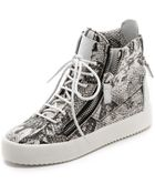 Giuseppe Zanotti Double Zip Snake Embossed Sneakers - Lyst