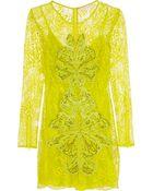 Matthew Williamson Embellished Lace Mini Dress - Lyst
