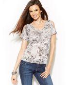 Inc International Concepts Petite Embellished Printed Cold Shoulder Top - Lyst