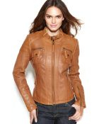 Michael Kors Michael Leather Buckle-Collar Motorcycle Jacket - Lyst
