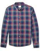 Band of Outsiders Madras-Check Seersucker Cotton Shirt - Lyst
