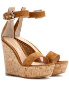 Gianvito Rossi Suede Wedge Sandals - Lyst