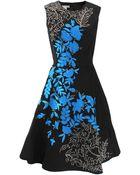 Oscar de la Renta Faille Dress With Blue Embroidery - Lyst
