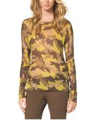 Michael Kors Camouflage-Print Mohair-Blend Sweater, Petite - Lyst