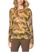 Michael Kors Camouflage-Print Mohair-Blend Sweater, Petite - Lyst