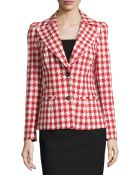 Carolina Herrera Woven Two-Button Houndstooth Jacket - Lyst