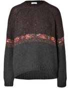 Brunello Cucinelli Heavy Knit Cashmere Pullover With Stripe - Lyst