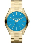 MICHAEL Michael Kors Mid-Size Golden/Blue Stainless Steel Runway Three-Hand Watch - Lyst