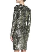 Elie Saab Long-Sleeve Sequined & Beaded Cocktail Dress - Lyst