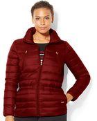 Lauren by Ralph Lauren Plus Size Funnel-Neck Down Jacket - Lyst