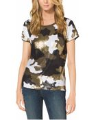 Michael Kors Camouflage-Print Sequined Top - Lyst