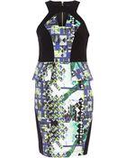 River Island Black Abstract Print Panel Peplum Dress - Lyst
