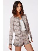 Missguided Lillie Paisley Studded Cropped Blazer - Lyst