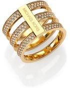 Michael Kors Motif Pave Bar Three-Row Ring/Goldtone - Lyst