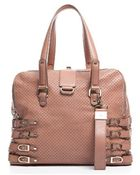 Jimmy Choo Preowned Pink Perforated Leather Blythe Bag - Lyst