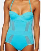 Asos Cupped Mesh Insert Bandeau Suit - Lyst