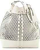 Vince Camuto Malik Leather Laser-Cut Drawstring Tote - Lyst
