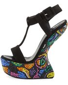 Giuseppe Zanotti Suede Crystal-Covered Wedge Sandal - Lyst