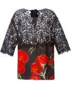 Dolce & Gabbana Lace Carnation Print Top - Lyst