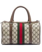 Gucci Pre-Owned Monogram Vintage Webbed Boston Bag - Lyst